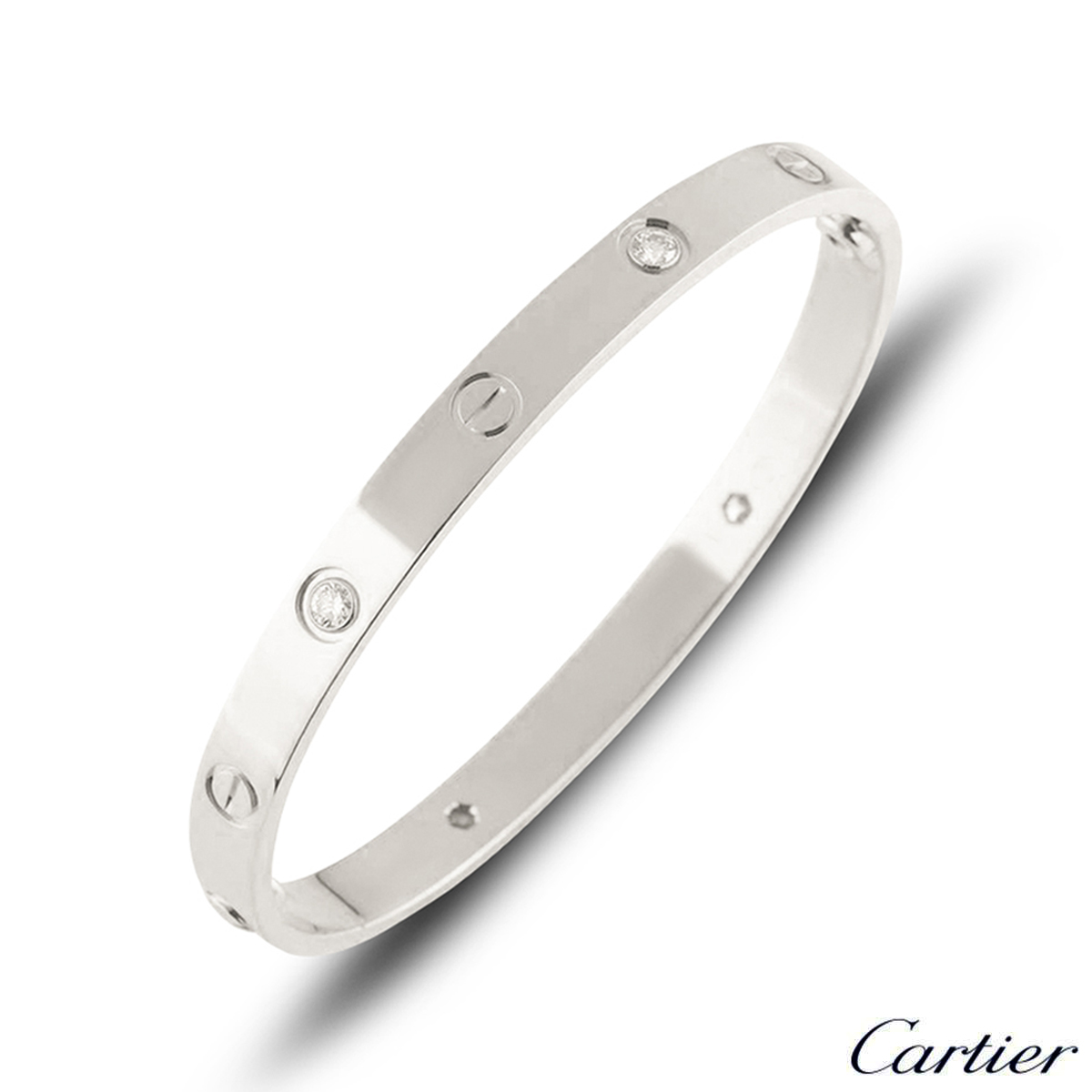 Cartier White Gold Half Diamond Love Bracelet Size 20 B6035820